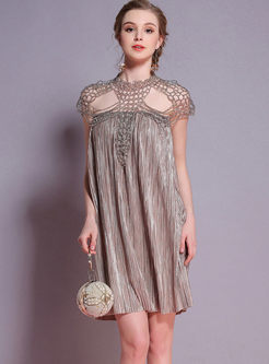Chic Hollow Out Shawl Pleated Shift Dress