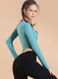 Pure Color Long Sleeve Dry Fast Sport Top