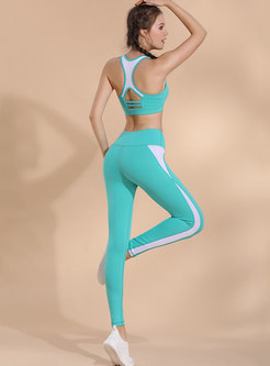 Color-blocked O-neck Hollow Out Sport Bra & Long Pants