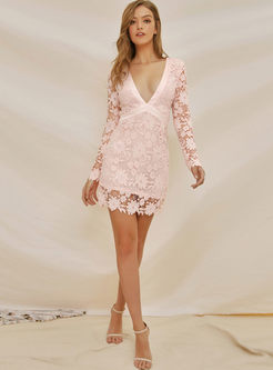 Backless Lace Openwork Bodycon Mini Dress