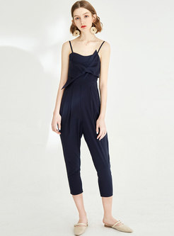 Stylish Off Shoulder Slip Gathered Waist Jumpsuit