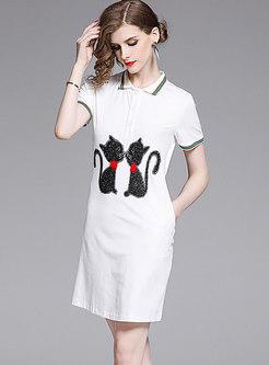 Summer Cartoon Cat Diamond-ironing T-shirt Dress