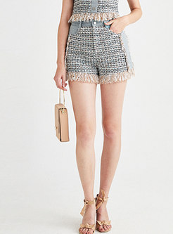 Stylish Splicing High Waist Tassel Slim Shorts