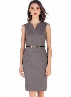 Elegant V-neck Sleeveless Belted Sheath Dress