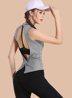 Solid Color O-neck Sleeveless Hollow Out Yoga Top
