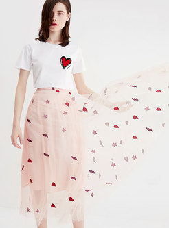 Sweet Mesh Embroidered High Waist A Line Skirt