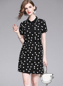 Brief Polka Dots High Waist T-shirt Dress