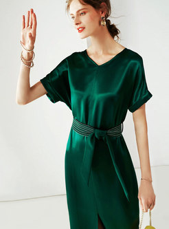 Solid Color Tied Split Bat Sleeve Bodycon Dress