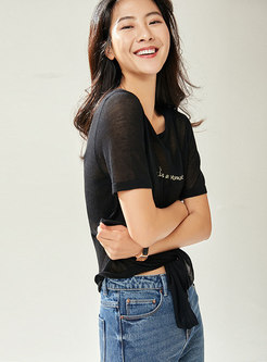 Casual Letter Embroidered O-neck Tied T-shirt