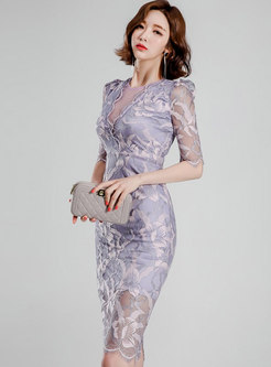 Sexy V-neck Half Sleeve Lace Bodycon Dress