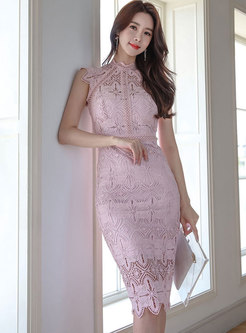Stand Collar Pink Lace Sheath Dress