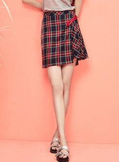 High Waist Plaid Splicing Pleated Skirt