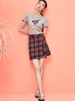 High Waist Plaid Splicing Pleated Skirt