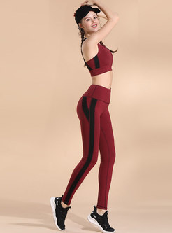 Color-blocked Elastic Dry Fast Bra & High Waist Pants