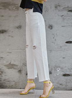 Casual High Waist Holes Flare Pants