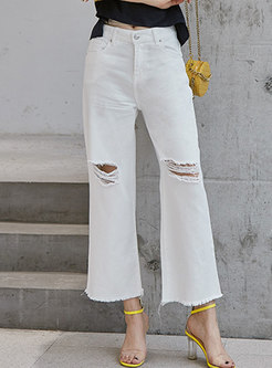 Casual High Waist Ripped Flare Pants