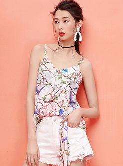 Chic V-neck Sleeveless Print Falbala Cami