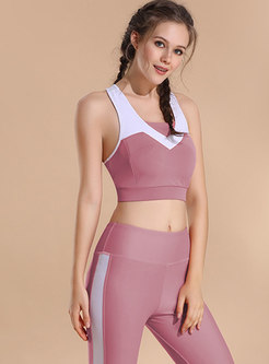 Chic Color-blocked Tight Sport Bra & Breathable Pants