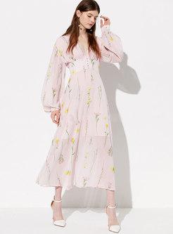 Bohemia Print V-neck Lantern Sleeve Maxi Dress