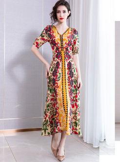 V-neck Short Sleeve High Waisted Print Dress