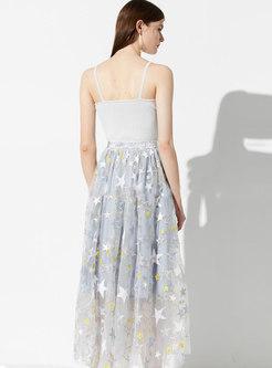 Stars Embroidered High Waist Mesh Skirt