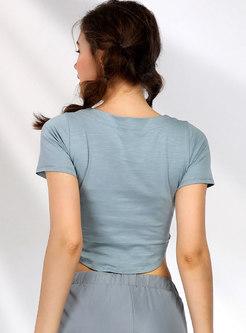 Solid Color Tie-collar Short Sleeve Crop Top