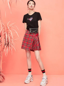 Casual Plaid Irregular Pleated Mini Skirt