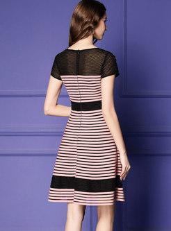 Chic Striped O-neck Beaded Gathered Waist Skater Dress