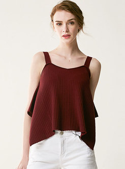 Summer Loose Pure Color Backless Slip Cami