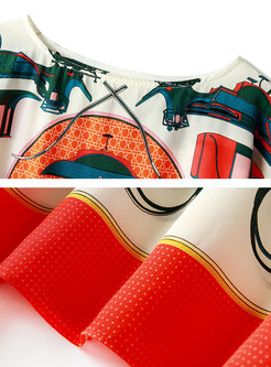 Chic Print Loose Batwing Sleeve Orange Silk T-shirt