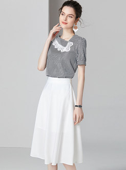 Lace Splicing Striped Backless Top & Casual White Skirt