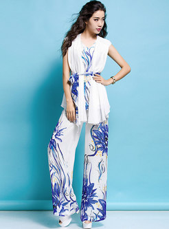 Print V-neck Sleeveless Belted Asymmetric Top & Wide Leg Pants