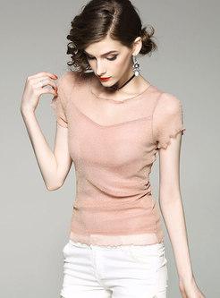 Stylish O-neck Short Sleeve Elastic Slim T-shirt