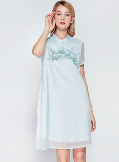 Vintage Embroidered Stand Collar Shift Dress