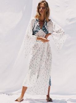 Bohemian V-neck Print Big Hem Maxi Dress