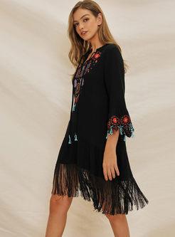 Ethnic Three Quarters Sleeve Tassel Embroidered Dress