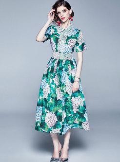 Lapel Short Sleeve Print Lace Up Skater Dress