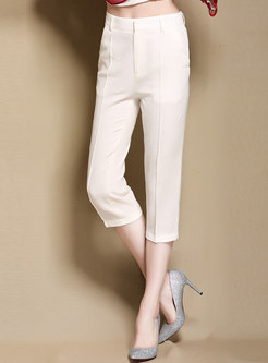 Elegant Solid Color High Waist Straight Pants