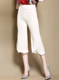 White High Waisted Flare Cropped Pants