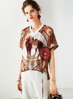 Chic V-neck Silk Print Loose T-shirt