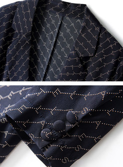 Work Print Splicing Silk Two-piece Outfits