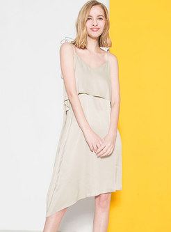 Chic Asymmetric Backless Tied Loose Slip Dress