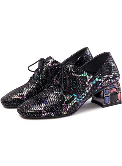 Vintage Square Head Rhinestone Tied Shoes