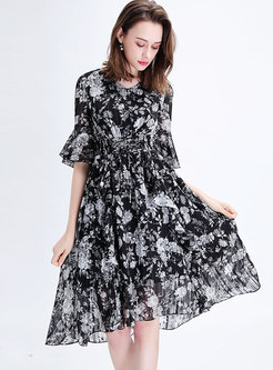 V-neck Asymmetric Print Tied Black Skater Dress
