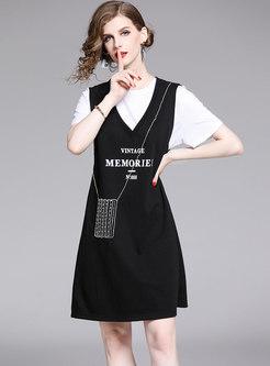 Stylish White T-shirt & Cute V-neck Print Sleeveless Dress