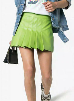 Street Green Casual All-matched Pleated Mini Skirt