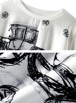 White O-neck Print Bat Sleeve Silk T-shirt