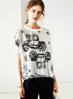 White O-neck Print Bat Sleeve Silk T-shirt