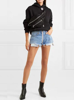 Brief Denim Tassel High Waist Irregular Shorts