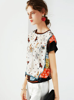 Chic Cartoon Print O-neck Silk Loose T-shirt